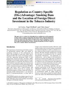 Advantage: Smoking Bans and the Location of Foreign ... - SSRN papers