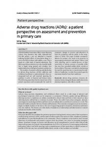 Adverse drug reactions (ADRs): a patient ... - Quality in Primary Care