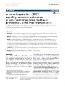 Adverse drug reactions (ADRS) reporting