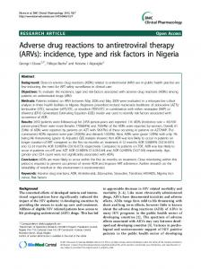 Adverse drug reactions to antiretroviral therapy - BioMedSearch