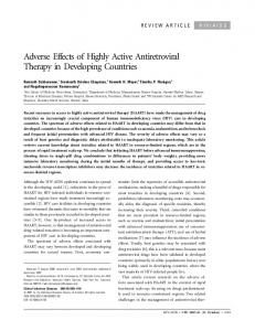 Adverse Effects of Highly Active Antiretroviral Therapy in Developing ...