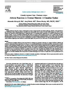 Adverse Reactions to Contrast Material - Canadian Association of ...