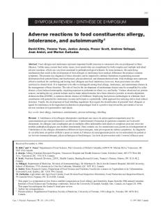 Adverse reactions to food constituents: allergy, intolerance, and ...