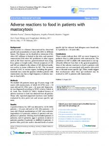 Adverse reactions to food in patients with mastocytosis | SpringerLink