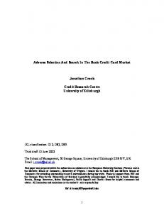 Adverse Selection And Search In The Bank Credit Card ... - CiteSeerX