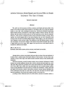 Adverse Selection, Moral Hazard, and Income Effect in Health Insurance
