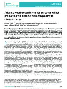 Adverse weather conditions for European wheat ...