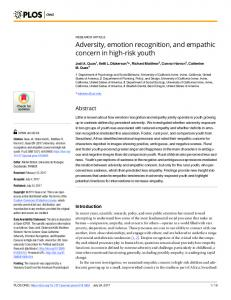 Adversity, emotion recognition, and empathic concern in high ... - PLOS