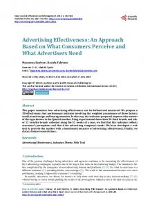 Advertising Effectiveness - Scientific Research Publishing