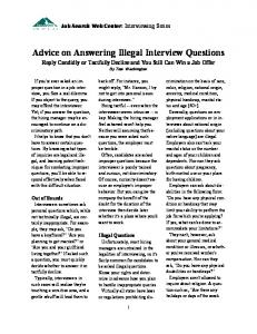 advice on answering illegal interview questions 2012