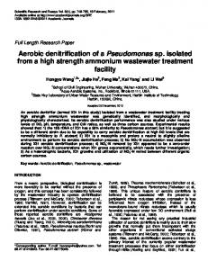 Aerobic denitrification of a Pseudomonas sp. isolated