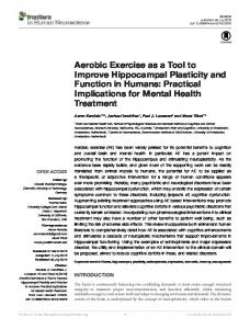 Aerobic Exercise as a Tool to Improve