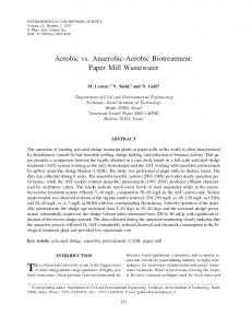 Aerobic vs. Anaerobic-Aerobic Biotreatment: Paper Mill ... - CiteSeerX