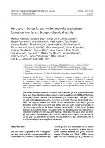 Aerosols in boreal forest - Boreal Environment Research