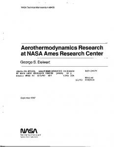 Aerothermodynamics Research at NASA Ames Research Center - NTRS