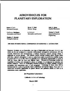 aerovehicles for planetary exploration - CiteSeerX