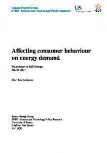 Affecting consumer behaviour on energy demand - CiteSeerX