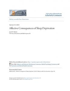 Affective Consequences of Sleep Deprivation