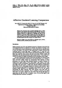 Affective Gendered Learning Companions - CiteSeerX