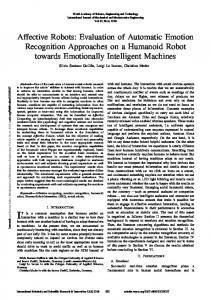 Affective Robots: Evaluation of Automatic Emotion Recognition ... - waset