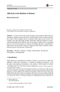 Affectivity in Its Relation to Memory - Springer Link