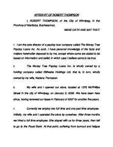 Affidavit of Robert Thompson