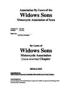Affiliate By-Laws Template - Widows Sons Silversmiths