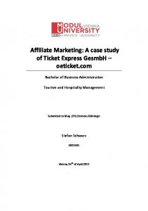Affiliate Marketing: A case study of Ticket Express GesmbH ...
