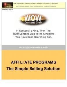 AFFILIATE PROGRAMS The Simple Selling Solution