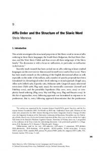 Affix Order and the Structure of the Slavic Word