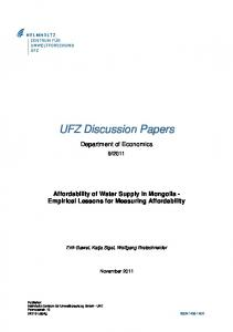 Affordability of Water Supply in Mongolia - UfZ