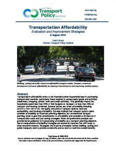 Affordability - Victoria Transport Policy Institute