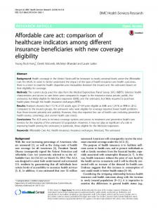 Affordable care act: comparison of healthcare