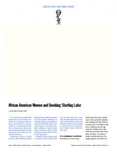 African American Women and Smoking - American Journal of Public ...