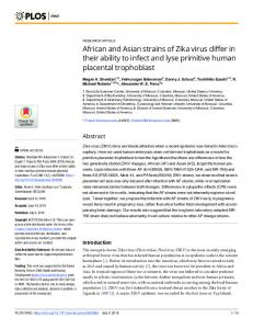 African and Asian strains of Zika virus differ in their ability to ... - PLOS