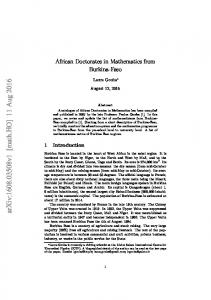 African Doctorates in Mathematics from Burkina-Faso