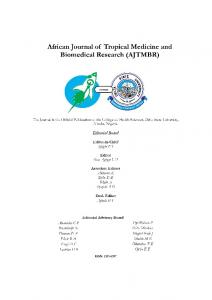 African Journal of Tropical Medicine and Biomedical Research ...