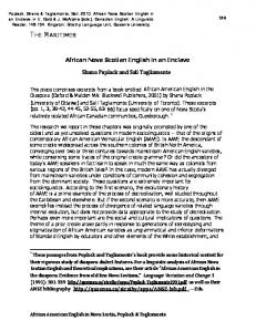 African Nova Scotian English in an Enclave Shana Poplack and Sali ...