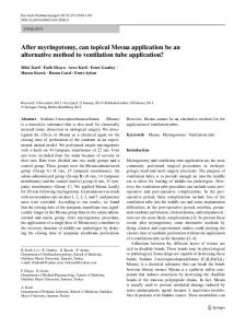 After myringotomy, can topical Mesna application be ... - Springer Link