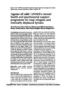 'Against all odds': UNHCR's mental health and psychosocial support ...