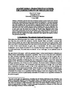 against moral character evaluations: the ... - Semantic Scholar