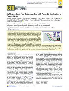 AgBiI4 as a Lead-Free Solar Absorber with ... - ACS Publications