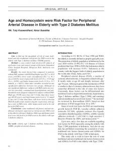Age and Homocystein were Risk Factor for Peripheral Arterial Disease