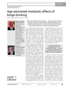 Age-associated metabolic effects of binge drinking
