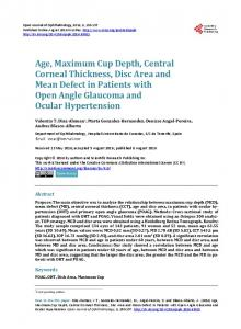 Age, Maximum Cup Depth, Central Corneal Thickness, Disc Area and ...