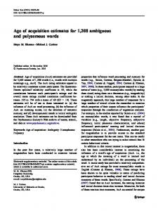 Age of acquisition estimates for 1208 ambiguous and ... - Springer Link