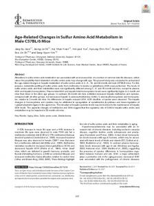Age-Related Changes in Sulfur Amino Acid
