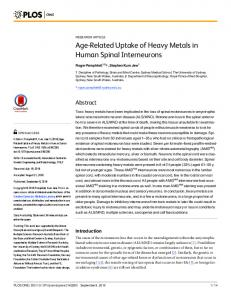 Age-Related Uptake of Heavy Metals in Human Spinal ... - PLOS