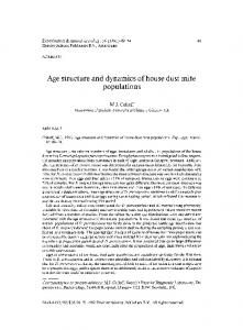 Age structure and dynamics of house dust mite ... - Springer Link