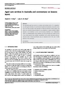 Aged care services in Australia and commentary ... - Wiley Online Library